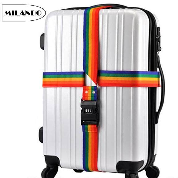 2e22db6db (CROSS Type) MILANDO Luggage Strap 4m CROSS Strap Rainbow Color Belt with  Combination Lock