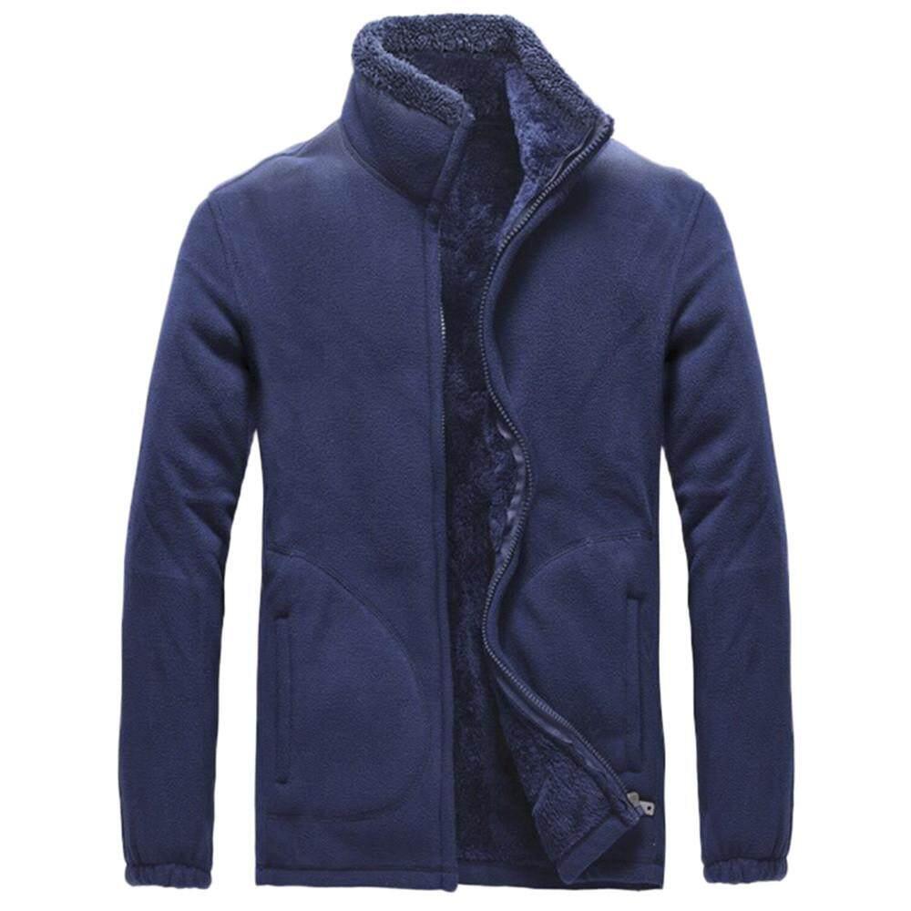 dde4b420ec94 Rainny Men s Autumn Winter Casual Long Sleeve Solid Fluffy Thicken  Windproof Jacket