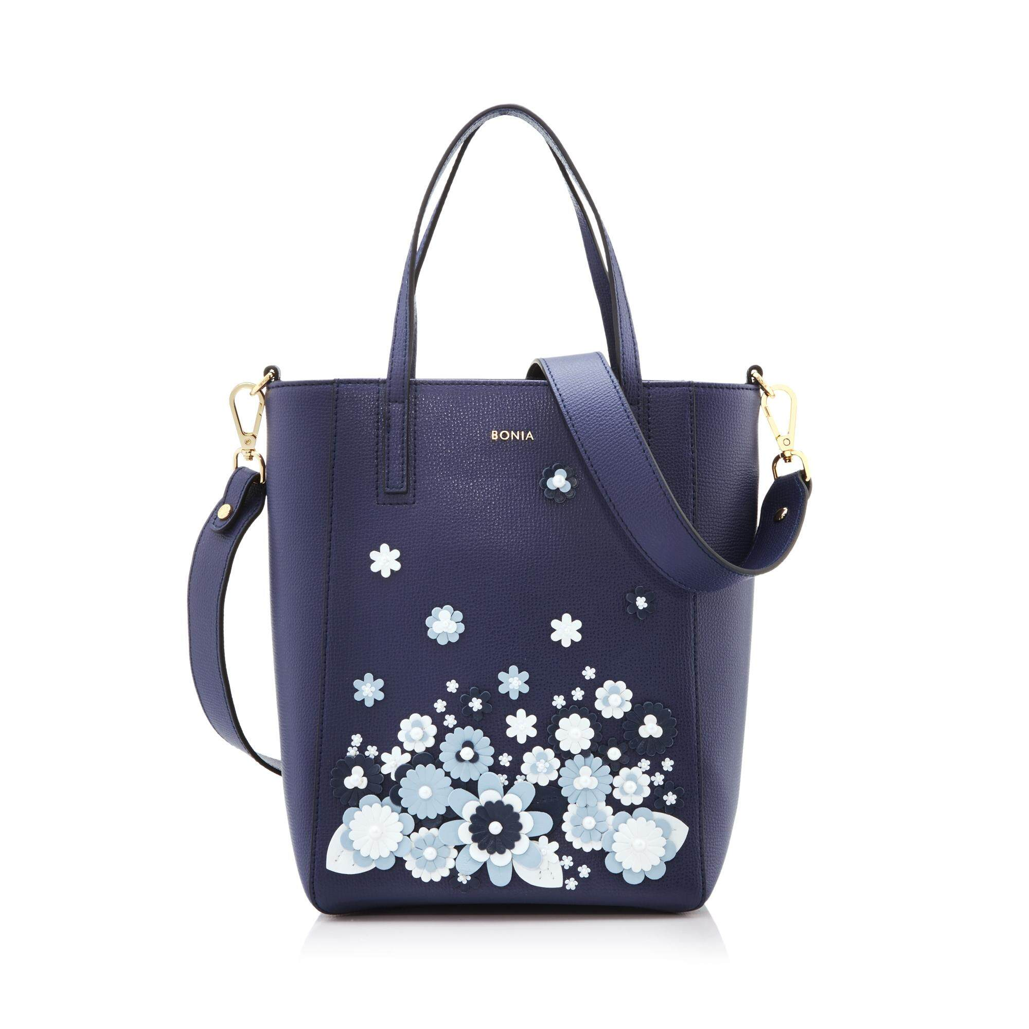 Bonia Dark Blue Blossoming Tote M