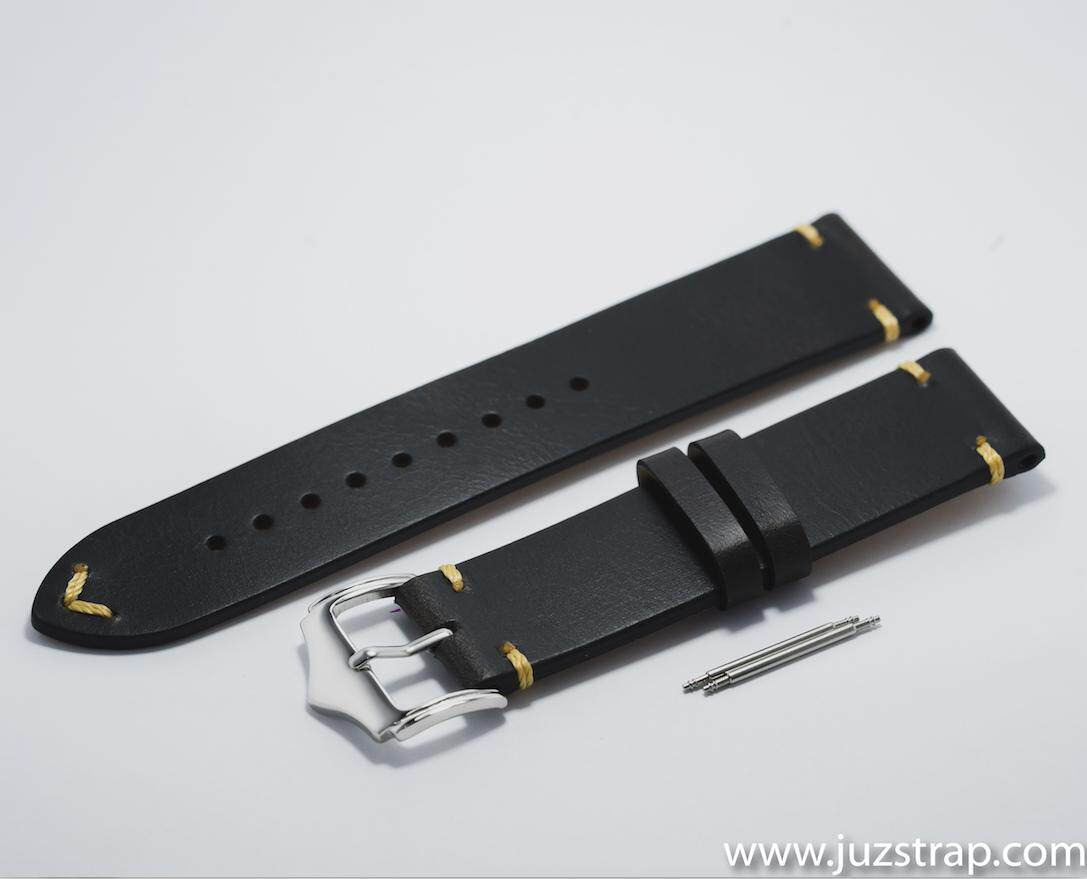 Black Vintage Leather Strap - 22mm Malaysia
