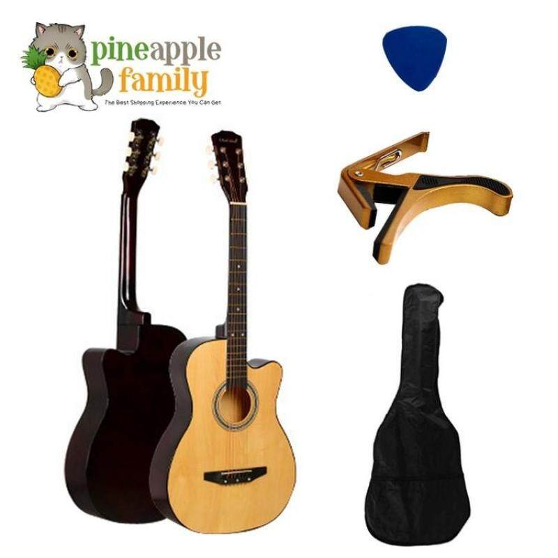 Acoustic Folk Cutaway Guitar 38 Inch FREE Guitar Bag+Capo Clamp+Pick Malaysia