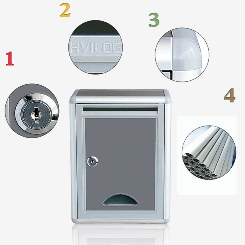 Fityle Outdoor Gray Wall Mounted Mailbox Post Box with Lock Office Letter Box