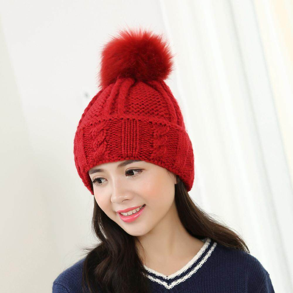 9025c8bb0b Women Winter Fur Ball Warm Hat Crochet Knitted Wool Cap Fashion