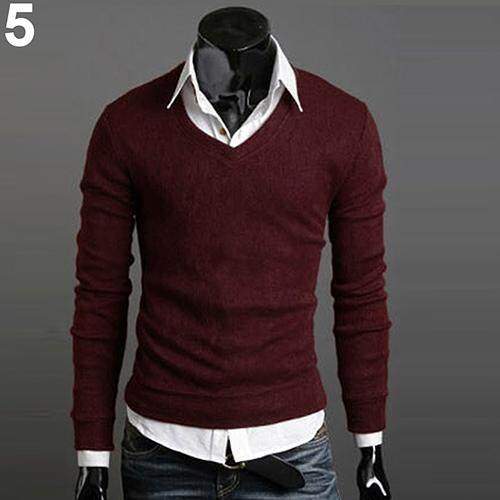 22eb887d8c Men Casual Stylish Slim Fit V-neck Knitted Sweater Pullover Knitwear  Sweatshirt