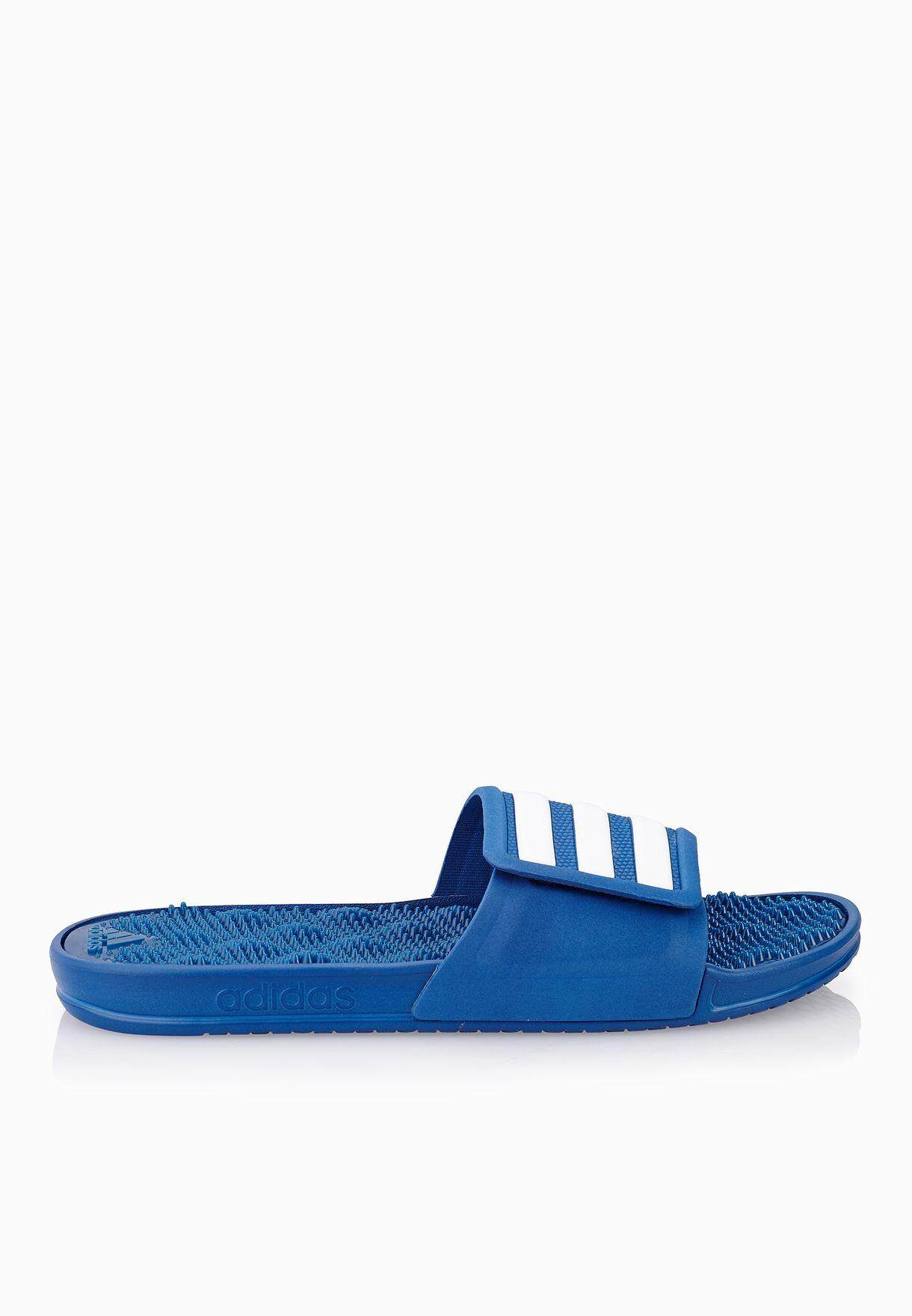 reputable site 91d74 1304b adidas Adissage 2.0 Blue and White Stripe Slides Sandal