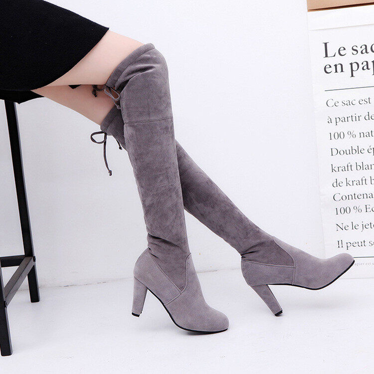 b2d459939e8 Winter Womens Suede Sexy Over The Knee Thigh High Long Boots Heels ...