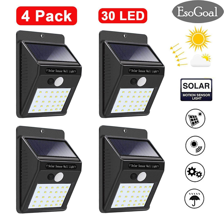 EsoGoal Solar Wall Lights 30 LED Solar Lights Outdoor Lighting Waterproof Solar Powered Motion Sensor Light Wireless Security Lights Outside Wall Lamp ...