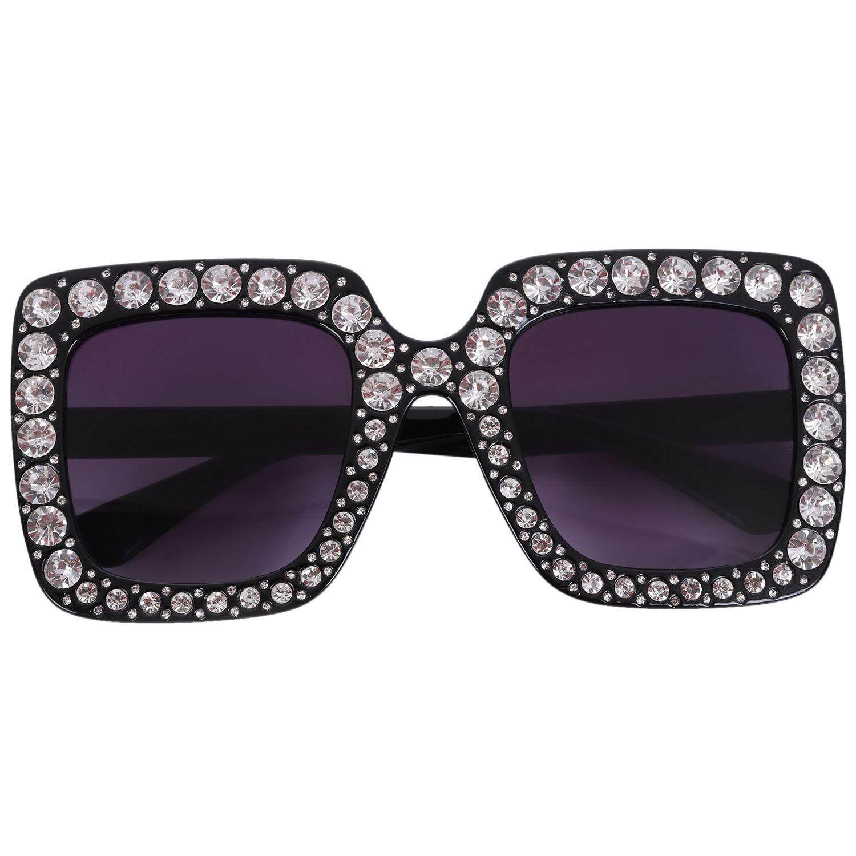 Luxury Sunglasses Women Ladies Oversized Square Sunglass Diamond Frame Mirror Sun Glasses For Female S17073 Black