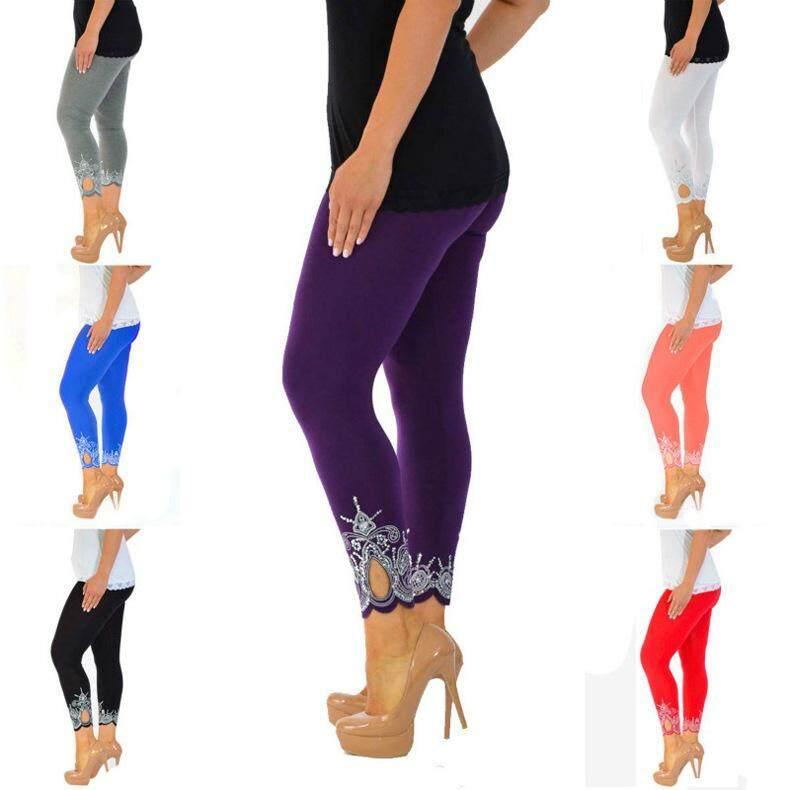 356d504804 PlusMiss Plus Size 5XL Floral Embroidery Rivet Pencil Pant Women ...
