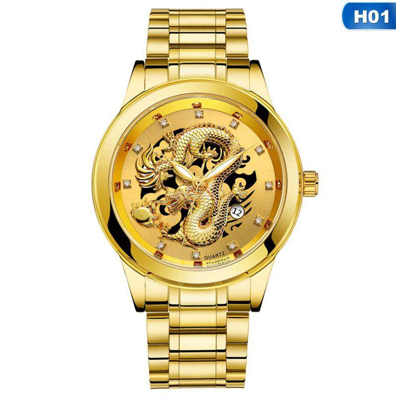 Luxury Luminous Dragon Quartz Watch Stainless Steel Waterproof Wristwatches Ultra-Thin Calendar Watch Malaysia