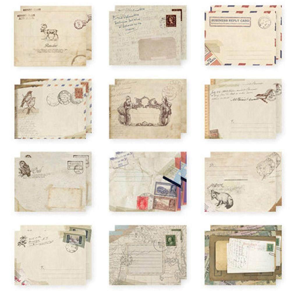 12 Pcsbanyak Mini Lucu Mailer Amplop Kertas Retro Menyelimuti Gaya Eropa Vintage