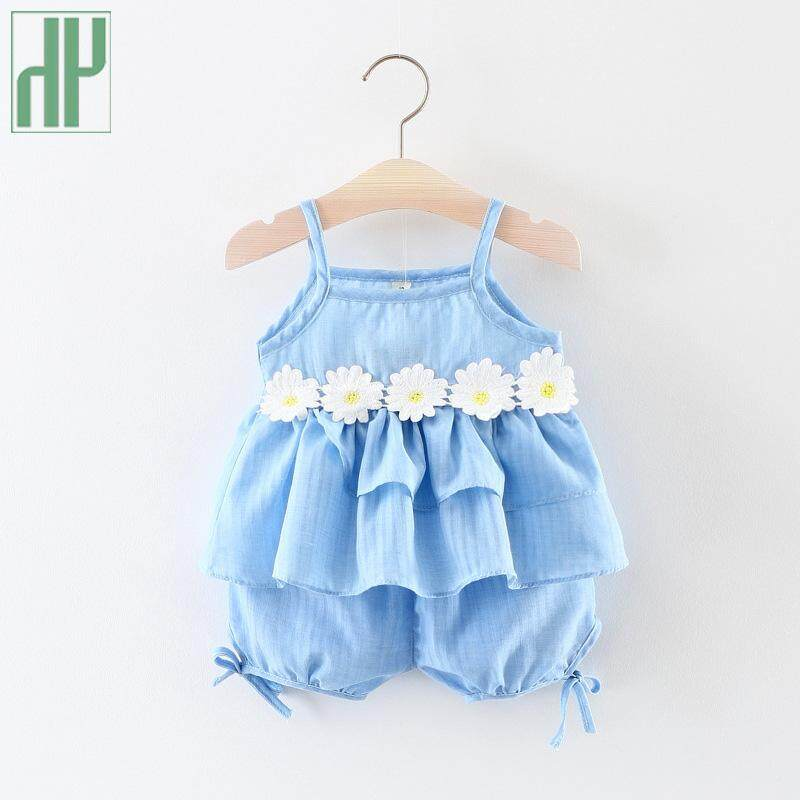 7fd88867ceac Baby girl clothes summer Sleeveless Floral T-shirt+Pants Infant newborn set  Princess