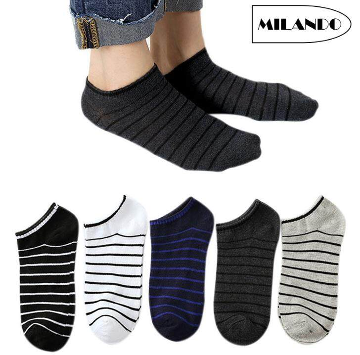 4541d94c6 (5 Pairs) MILANDO Unisex Low Ankle Sport Cotton Men Women Sock Socks  Stoking Lelaki