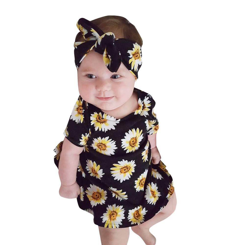 Newborn Toddler Infant Baby Girls Floral Print Dresses Headbands Outfits Set By Cutebabyroom.