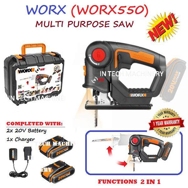 WORX WX550 MULTI PURPOSE SAW 20V 2 IN 1 C/W 2x 20V BATTERY AND 1x CHARGER