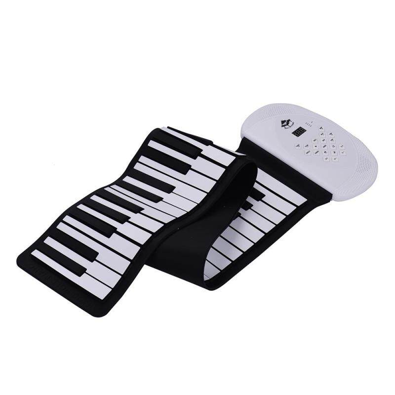 61 Keys MIDI Roll Up Piano Electronic Silicon Keyboard with Stereo Speaker Support BT Connection Record Sustain functions white US PLUG Malaysia
