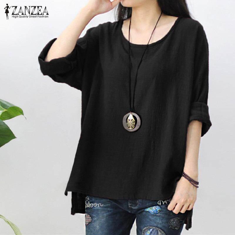 0d756800ea06c ZANZEA Womens Retro O Neck Long Sleeve Split Baggy Cotton Linen Casual  Loose Solid Party Tops