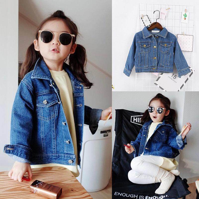 Girls Denim Jeans Fall Jacket Pocket Button Up Jacket Coat Warm Outwear Clothes By Sugarbabies.