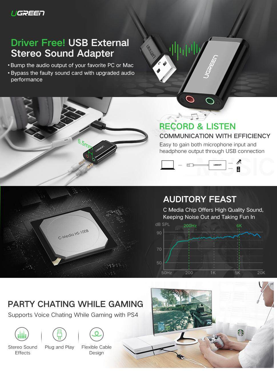 UGREEN USB Audio Adapter External Stereo Sound Card With 3 5mm Headphone  And Microphone Jack For Windows, Mac, Linux, PC, Laptops, Desktops, PS4 Pro