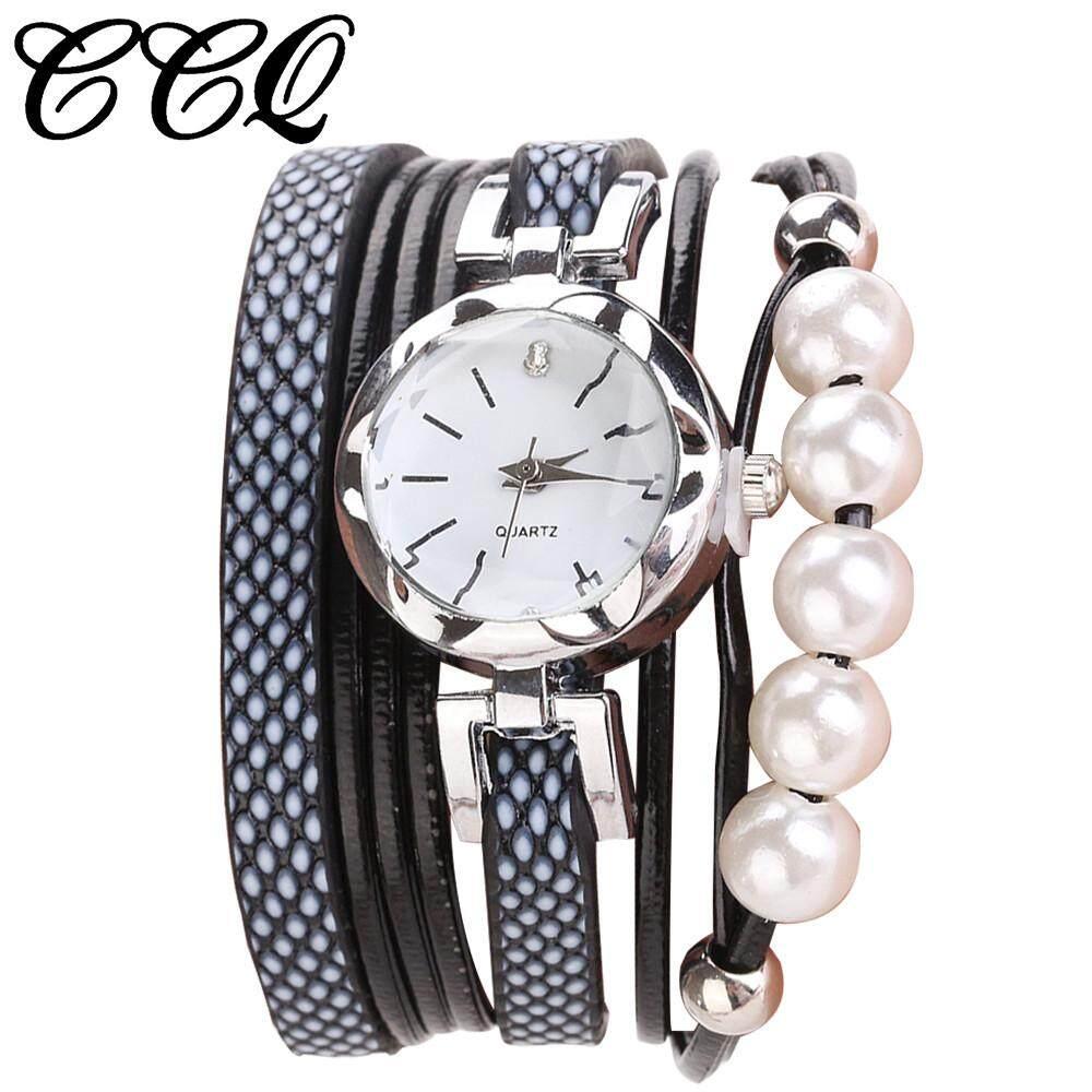 BPFAIR CCQ Women Fashion Casual Analog Quartz Women Rhinestone Pearl Bracelet Watch  Free shipping Malaysia