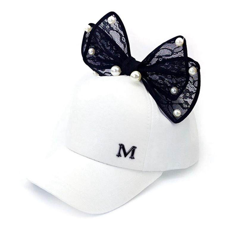 e9640c06673 BZY Newly Children s Summer Baseball Cap for Girls Sun Visor Caps Lace Ear  Bow with Pearls