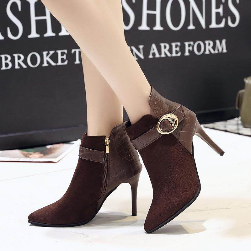 Autumn Winter New Suede High Heels Boots With Ankle Boots Shoes Coffee By Addidos.