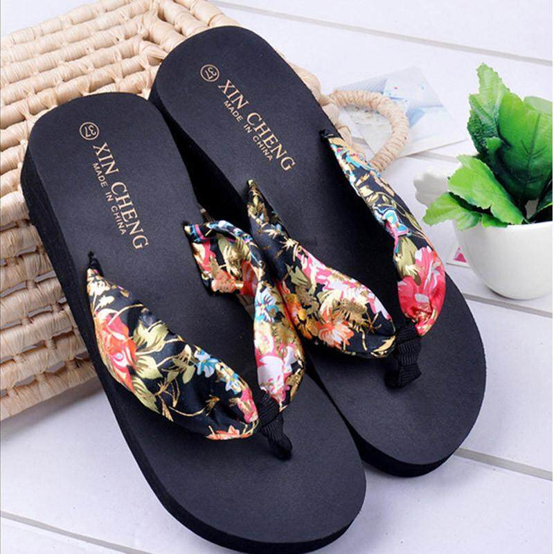 3e06d1466037 Foctroes Bohemia Floral Beach Sandals Wedge Platform Thongs Slippers Flip  Flops