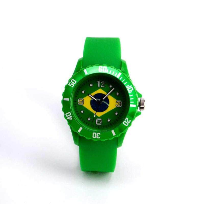 huyia World Cup 2018 Flag Pattern Dial Silicone Band Analog Quartz Wrist Watch Soft Brazil Malaysia