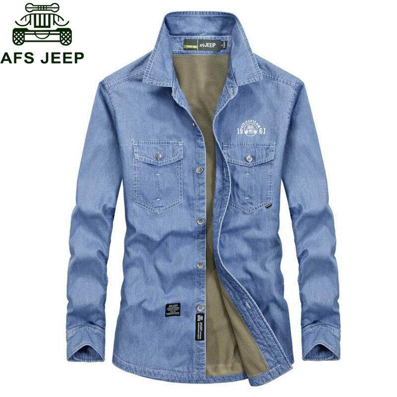 32f95319a260 AFS JEEP Men Casual Warm Fleece Cotton Solid Camisa masculina Plus Size  M-5XL Military