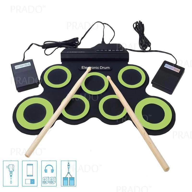 Prado Roll-Up Portable Foldable Silicone Electronic Drum Pad Kit Digital Usb By Prado Shop.
