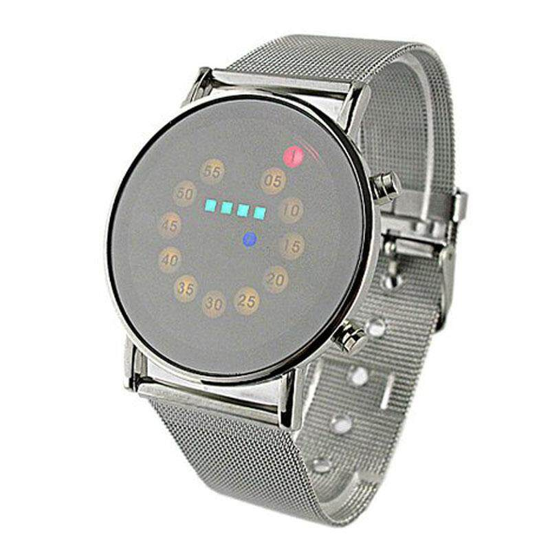 Red+Yellow+Green+Blue LED Light Stainless Steel Fashion Wrist Watch radocie Malaysia