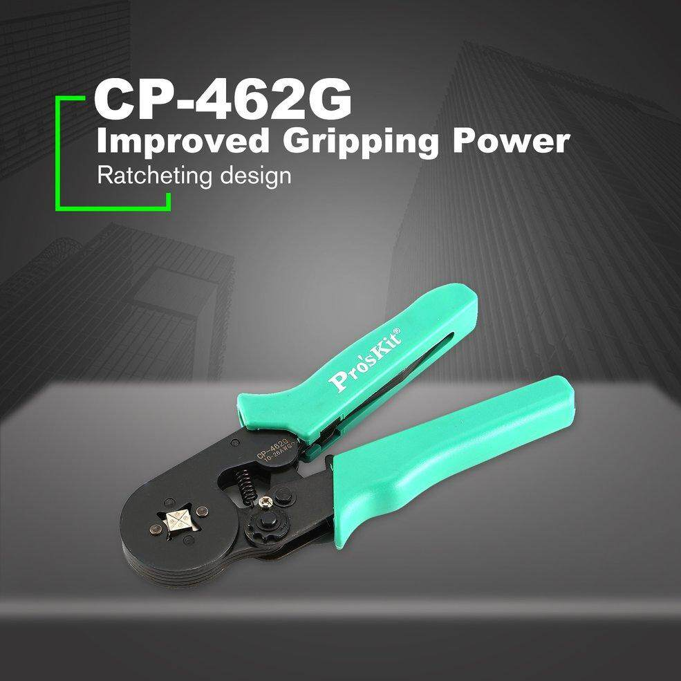 Proskit CP-462G Adjustable Ratcheting Design Square Ferrule Wire Crimpers Practical Crimping Pliers Line Pressing Tools