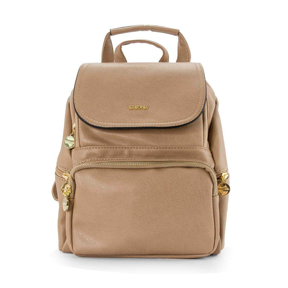 Sembonia Synthetic Leather Backpack Brown
