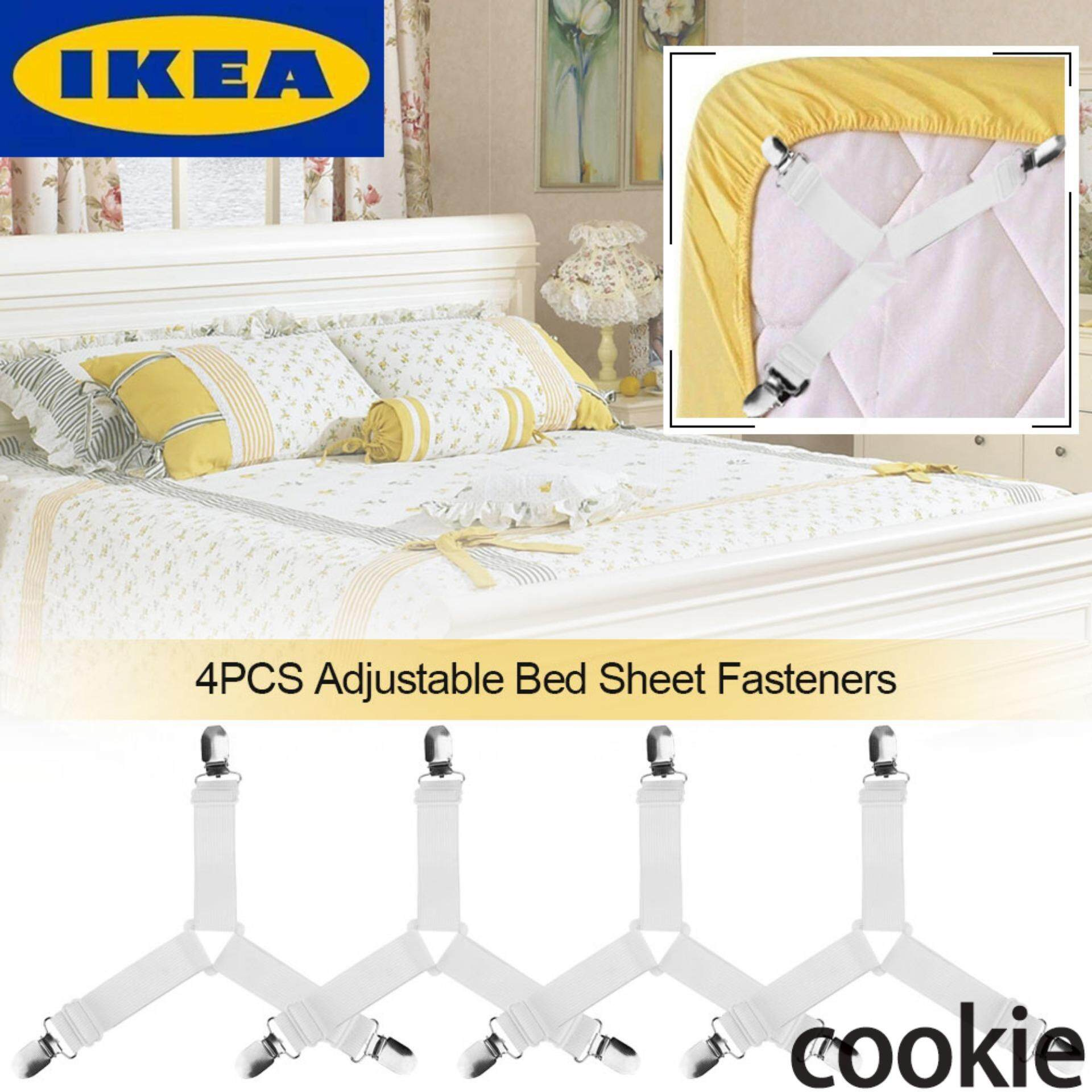 IKEA 4pcs Adjustable Triangle Bed Mattress Sheet Holder Straps Clips  Grippers Fasteners Elastic Straps Fasteners Holders