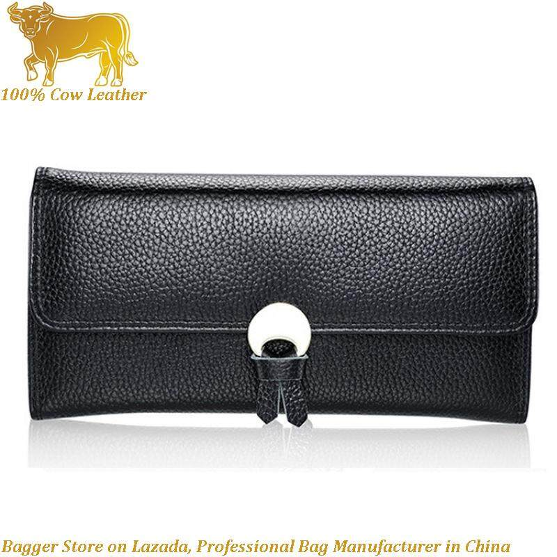 Genuine Cow Leather Woman Long Purses Fashionable Wallet for Money Clip Holder Girls Hand Clutch Bag