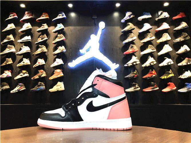 Nike Official Michael Jordan 1 Pink Black MEN Basketaball Shoe Air Jordan  AJ \u201cIgloo\u201d