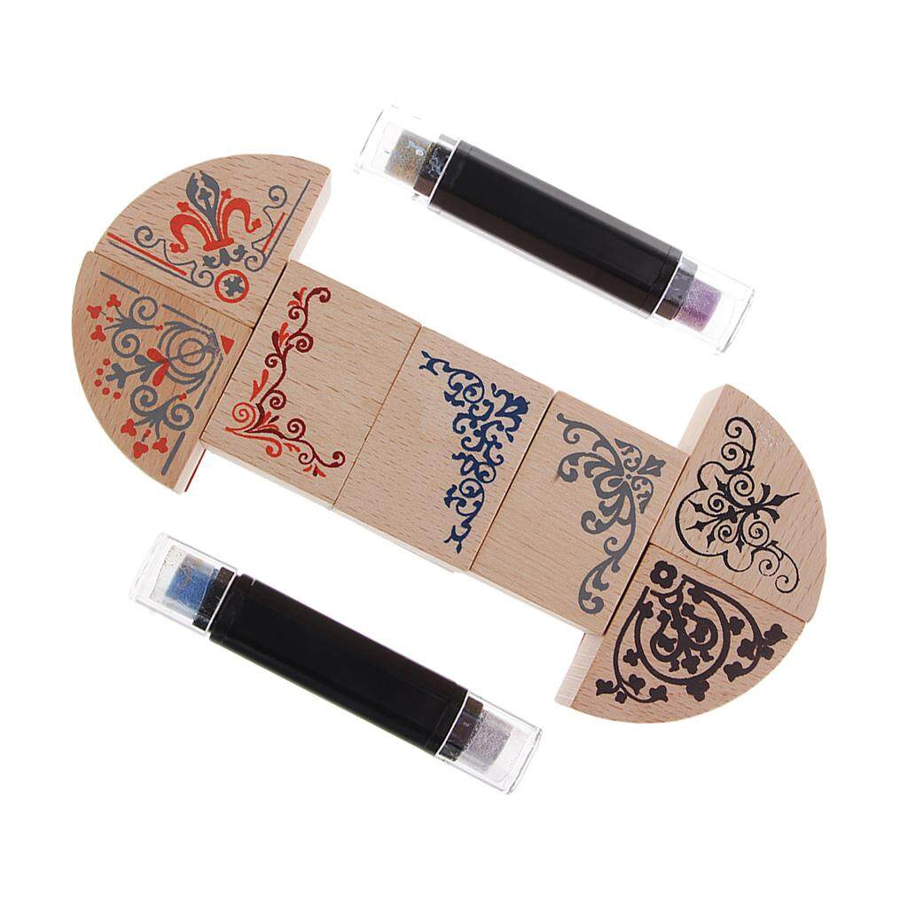 Bolehdeals 7pcs Vintage Flower Frame Corner Wooden Rubber Stamps Seal With Inkpad Pen For Craft By Bolehdeals.