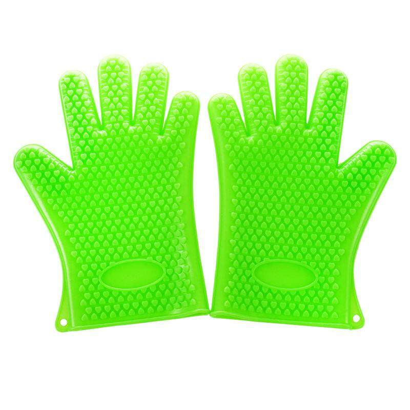 Two Barbecue Heat Resistant Silicone Gloves Oven Kitchen Grill BBQ Cooking Mitts, Green
