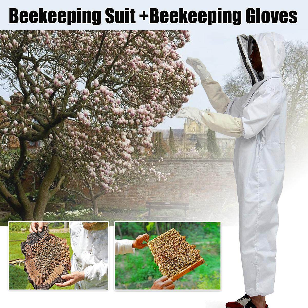 Full Body Beekeeping Bee Suit Heavy Duty with Leather Ventilated Keeping Gloves