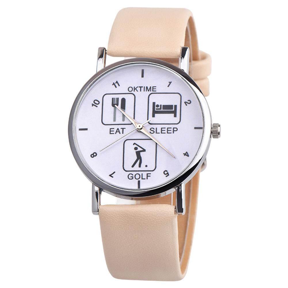 BODHI Simple Letter Pattern Round Dial Women Quartz Faux Leather Strap Wrist Watch (Beige + Brown) Malaysia