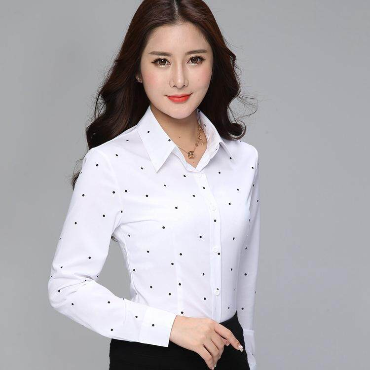 34de74a8 Fashion Formal Shirt Women Clothes 2018 New Slim Long Sleeve White Blouse  Elegant OL Office Ladies
