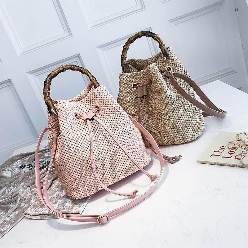 Fashion straw bucket bag hand bag shoulder bag simple pumping diagonal small bag tide handbag