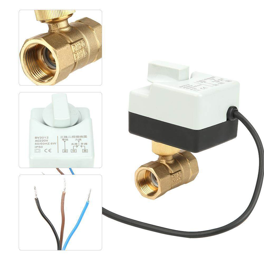 【Made in Italy 】DN20 G3/4 3-Wire 2-Way Brass Motorized Ball Valve for Air Conditioner AC220V