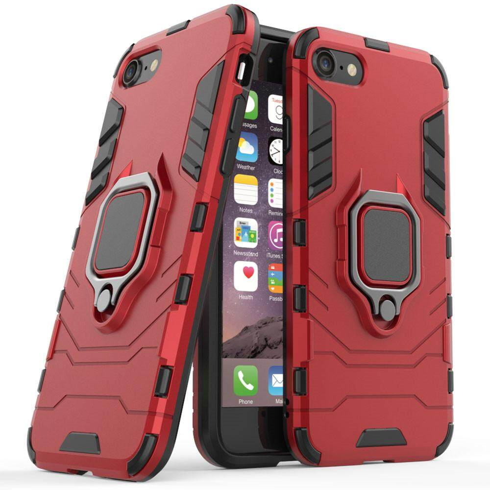Iphone 6 Case, Iphone 6s Case, Silicone Tpu And Hard Pc Luxury Armor Shockproof Metal Ring Holder Cover Phone Casing By Linkee.