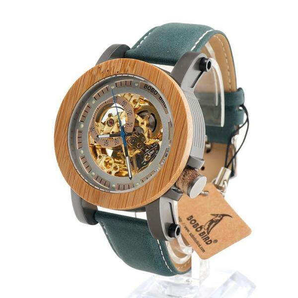 BOBO BIRD EK13 Top Brand Luxury Automatic mechanical Casual Watch Men Skeleton Bamboo Wooden With Steeling In Wooden Gift Box Malaysia