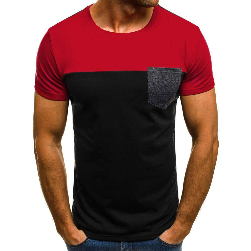 85f753f27bf2 Men Muscle T-Shirt Slim Casual Fit Short Sleeve Patchwork Pocket Blouse Top  RD