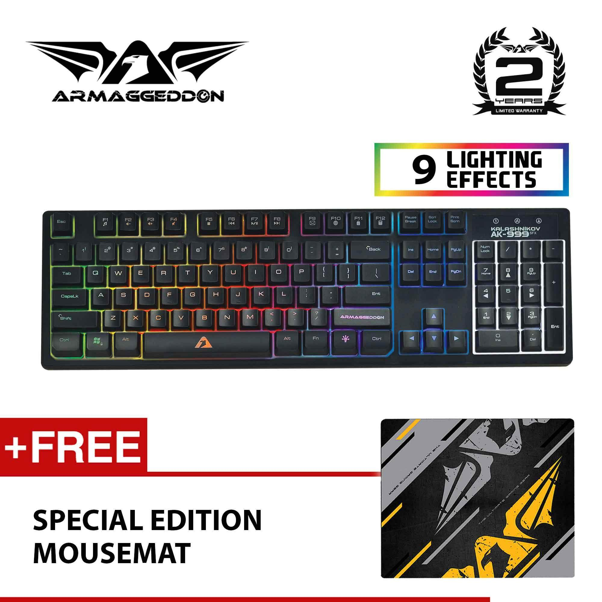 Armaggeddon AK-999sFX Spill Proof Gaming Keyboard Free Special Edition Mousemat Malaysia