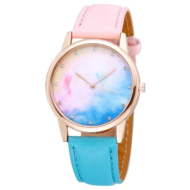 HiQueen Gradient Starry Sky Fashion Womens Quartz Watch Round Dial Fuax Leather Female Wristwatch Malaysia
