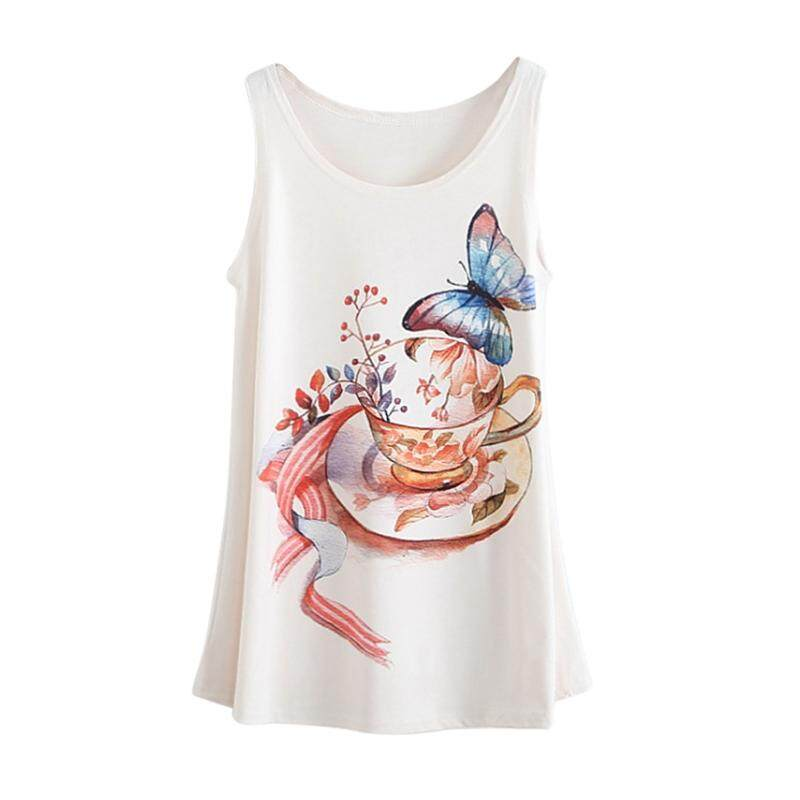 4deb4c1ac16e1 Women Fashion Butterfly   Cup Cartoon Pattern Printing Ladies Tank Top Sexy  Tops For Women Camisole