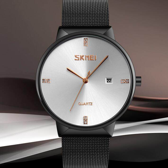 Simple Fashion Ultra Thin Mens Watches Luxury Brand Skmei 9164 Stainless Steel Waterproof Date Casual Quartz Men Wrist Watch Malaysia